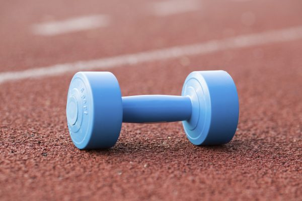 dumbbell on running track
