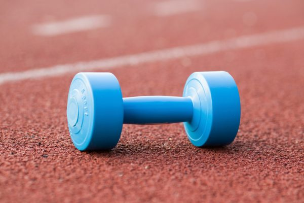 dumbbell on running track
